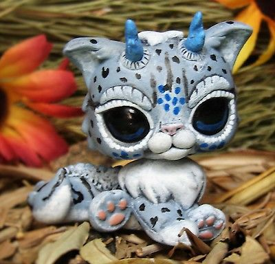 Littlest Pet Shop Snow Jaguar Dragon Spirit OOAK custom figure LPS chibi