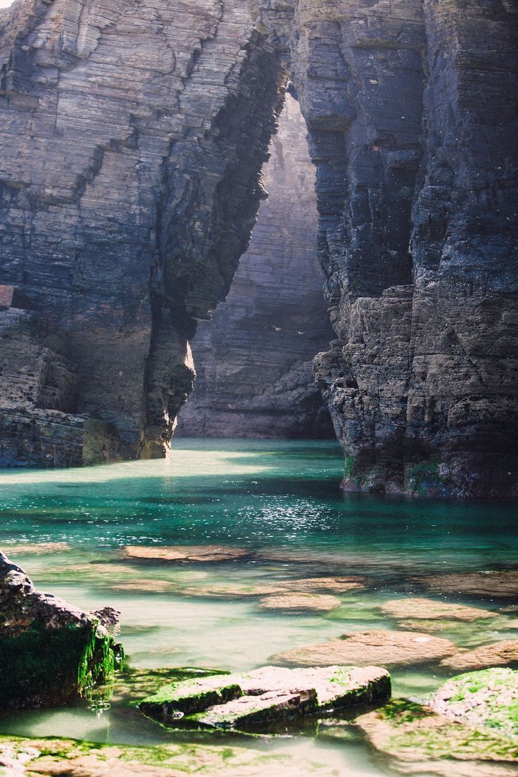 Cathedrals Beach, Galicia, Spain. We can't wait to mermaid here! Get your real swim-able mermaid tail at FinFunMermaid.com