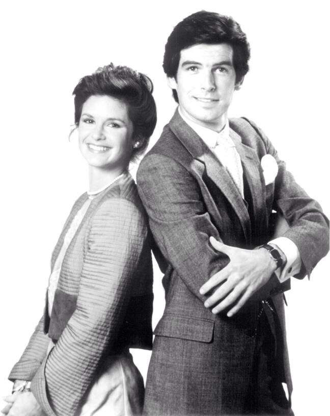 Stephanie Zimbalist & Pierce Brosnan. TV Series REMINGTON STEELE 1982-1987