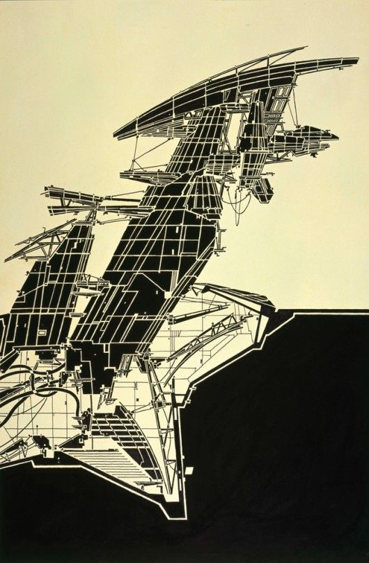 Aerial Paris. 1989. Copic Marker on tracing paper on board, 815 × 507 mm © Estate of Lebbeus Woods