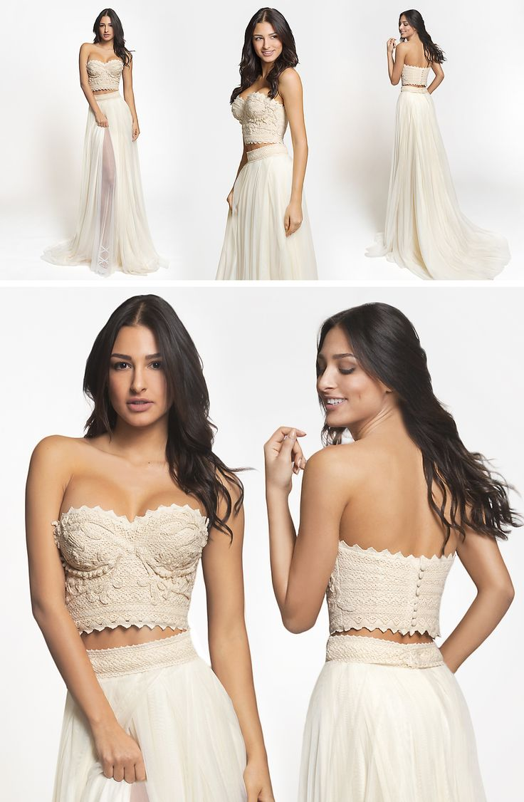 Delis dress is a Crop Top strapless wedding gown with an ethereal flair. See in detail its unique embroidery in crochet that is made by hand.