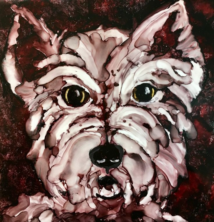 Scottie alcohol ink painting by Penny Day Thompson