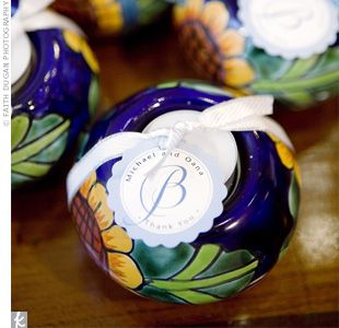 spanish+decorations | Guests took home Mexican Talavera pottery -- including candleholders ...