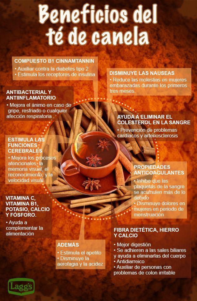Los saludables beneficios del té de canela. #té #canela #infografía