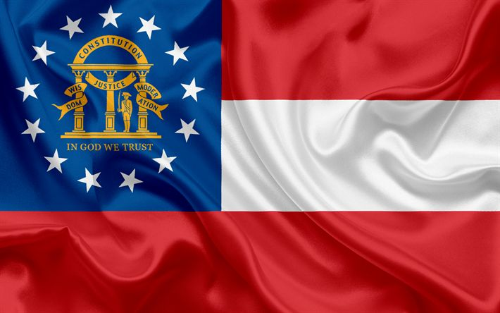 Descargar fondos de pantalla Bandera del Estado de Georgia, banderas de los Estados, EEUU, estado de Georgia, de seda