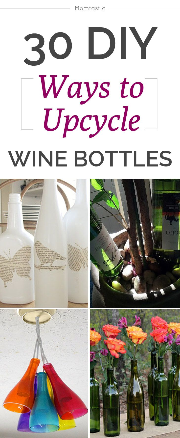 30 crafty ways to upcycle wine bottles! #diy