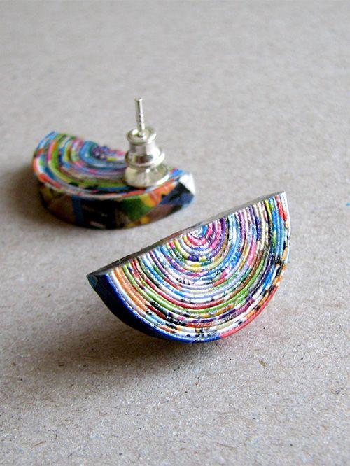 recycled paper earrings | BLURECO                                                                                                                                                     Más