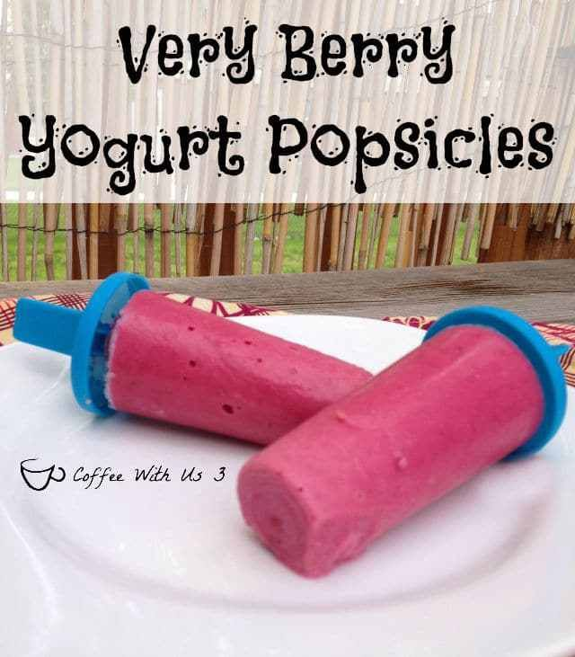 Very Berry Yogurt Popsicles - Raspberries, Strawberries, & Blueberry Yogurt combine for a creamy & berry delicious popsicle!