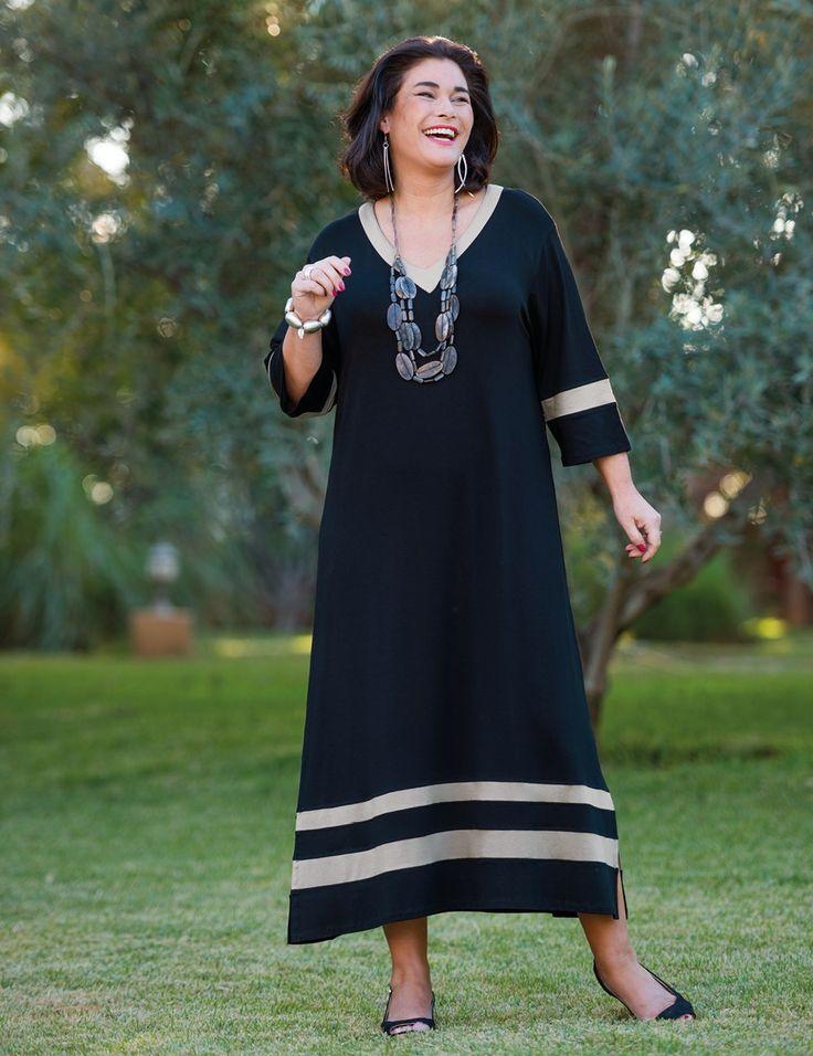 Касба черный / темно-серый Джерси полосой платье