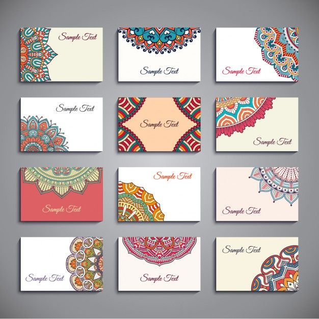 style Boho cartes de visite collection Vecteur gratuit