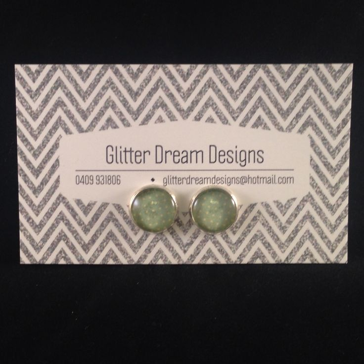 Order Code D20 Green Cabochon Earrings
