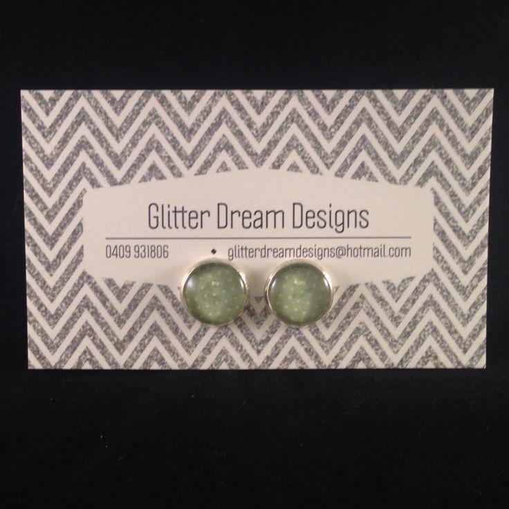 Order Code D20 Green Cabochon Earrings