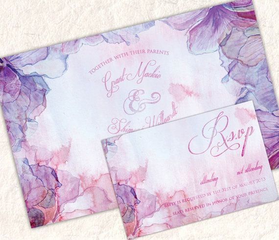 Printable Purple and Pink Floral Ink and by SixDaysCreations