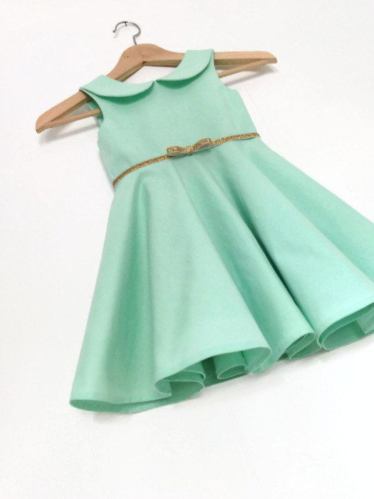 Seafoam/Minty Flower Girl Dress (Kona ICE FRAPPE) / The Zoe Dress / Ages 1-5 years / Peter Pan Collar