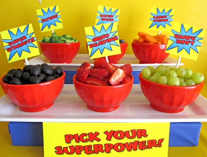 Superhero party food -- pick your super power. Awesome! Could be a way to get kids to eat fruit :)