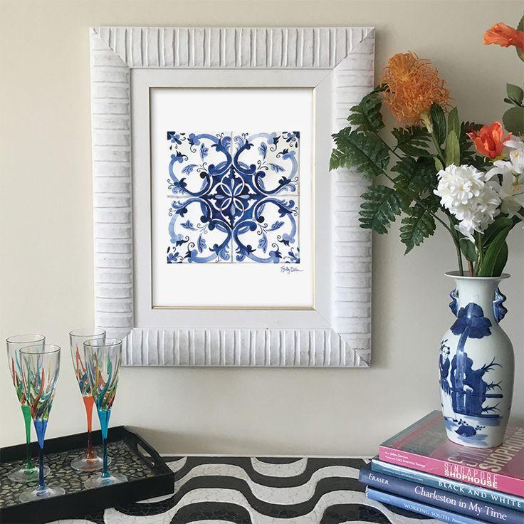 Mediterranean Tile Art Print - Portuguese Azulejo