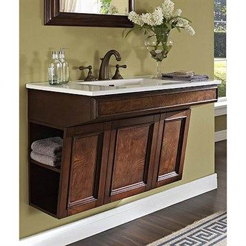 """**FAVORITE OPTION but the storage on the right side would not be accessible given space constraints.  Sink/counter is extra.   Fairmont Designs Newhaven 36"""" Wall Mount ADA Vanity - Nutmeg"""