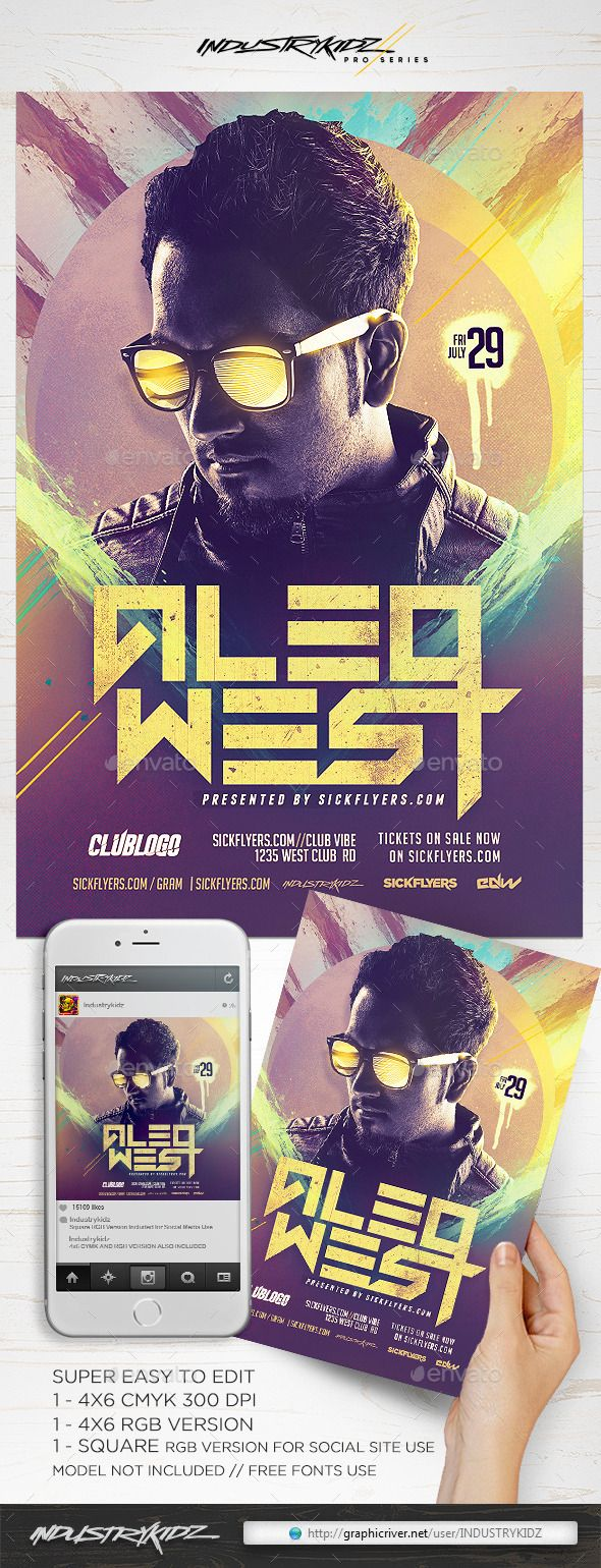 EDM DJ Flyer — Photoshop PSD #techno #dj flyer • Available here → https://graphicriver.net/item/edm-dj-flyer-/11709527?ref=pxcr
