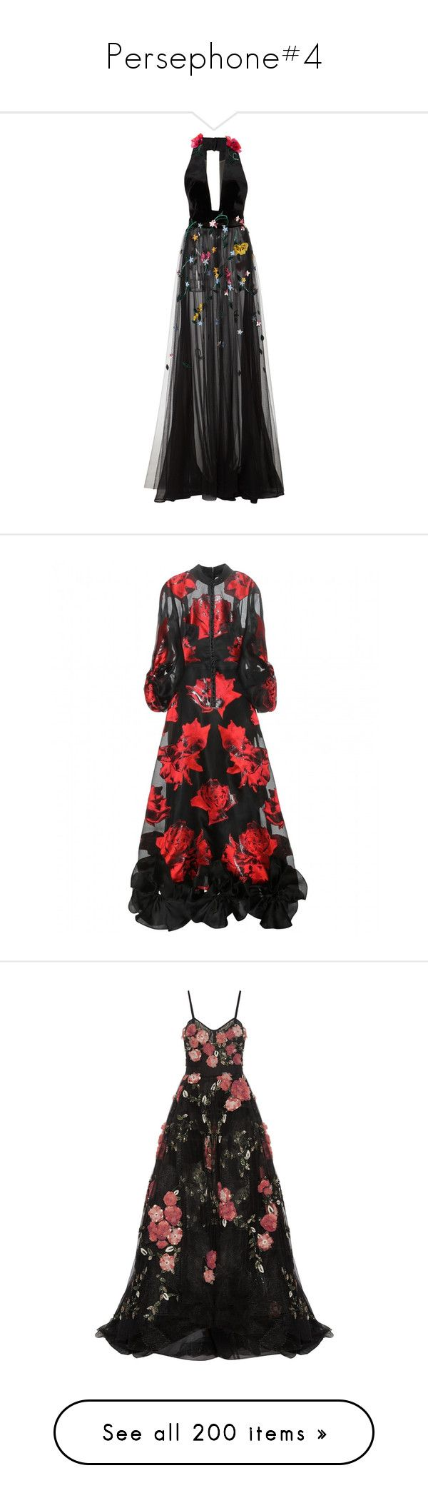 """""""Persephone#4"""" by xiuchen-was-taken ❤ liked on Polyvore featuring dresses, gowns, black, velvet dress, halter evening gowns, floral embroidered dress, floral embroidered gown, floral halter dress, dresses 3 and alexander mcqueen gowns"""