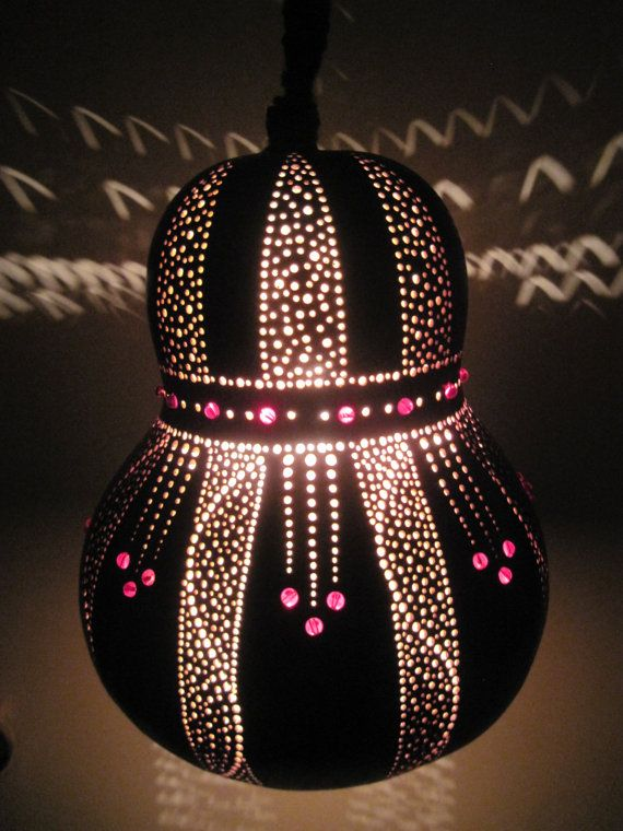 Hand crafted hanging elegant gourd light with glass by tamiredding, $85.00