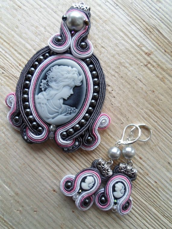 Anna. Handmade soutache pendant and earrings. Vegan friendly.