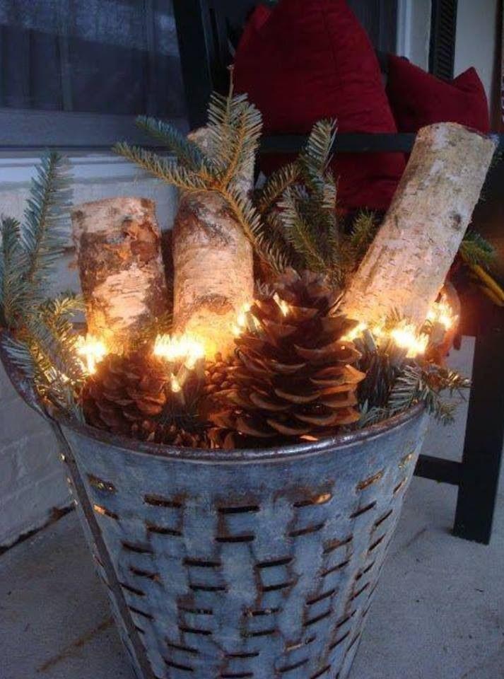 Festive porch decoration birch log pinterest for Balcony christmas lights ideas