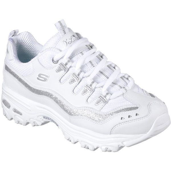 Skechers Women's D'lites - Now And Then White - Skechers ($65) ❤ liked on Polyvore featuring shoes, athletic shoes, white, retro shoes, laced up shoes, white glitter shoes, lace up shoes and retro style shoes