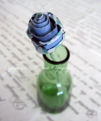 DIY - Washi tape Rose tutorial by Anma. http://andrinemaren.blogspot.no/2011/04/stor-rose-tutorial.html