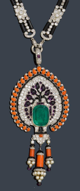 An Art Deco diamond, emerald, onyx and coral necklace, France, circa 1925. #ArtDeco #necklace