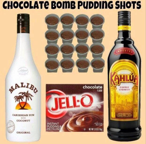 I cant wait to try this!  I love Malibu, Kahlua, and who dosent love chocalate!   Tasty Tidbits & More: Chocolate Bomb Pudding Shots