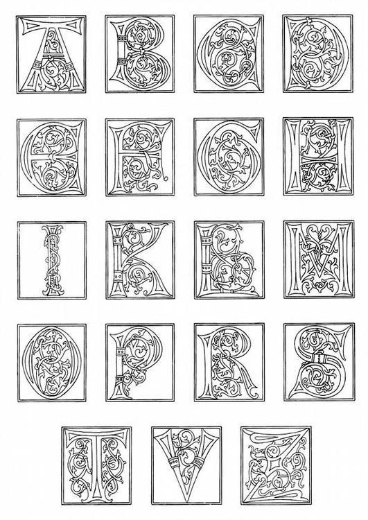 Malvorlage 01a. Alphabet Ende 15. Jahrhundert. Bilder für Schule