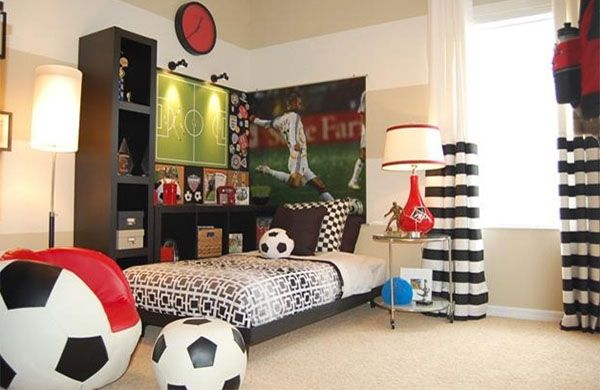 Very Elegant Sport Bedroom Ideas Themed The Soccer Ball
