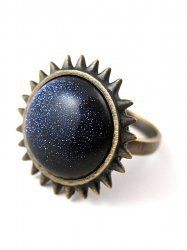 ALEX AND CHLOE / CROWN OF THORNS RING - ANTIQUE BRASS WITH BLUE GOLDSTONE : ALEX AND CHLOE | ONLINE SHOP
