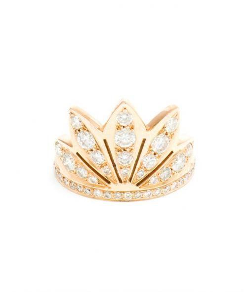 Large 18K Rose Gold and Diamond Lotus Ring