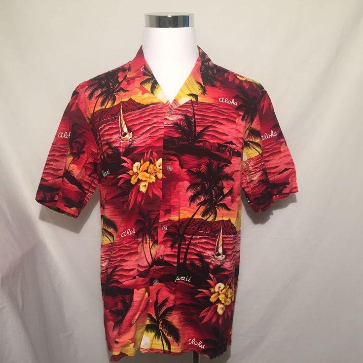 Vintage 70s Hilo Hattie Hawaiian Shirt XL Red Floral Polyester Silky Aloha Camp Hawaiian Luau Mens Extra Large 6LuUWA