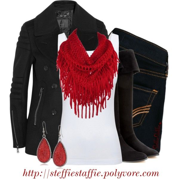 """Black Peacoat & Red Fringe Scarf"" by steffiestaffie on Polyvore"