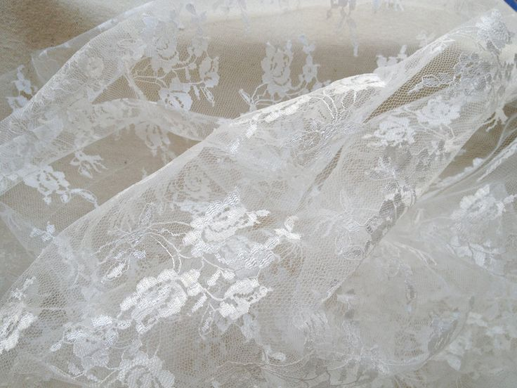 Gorgeous White Lace Fabric By The Yard Wedding Bridal Floral Lace Curtain Tulle Sheer Lace