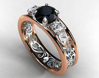 Black and white Diamond filigree engagement ring, trinity ring, two tone ring…