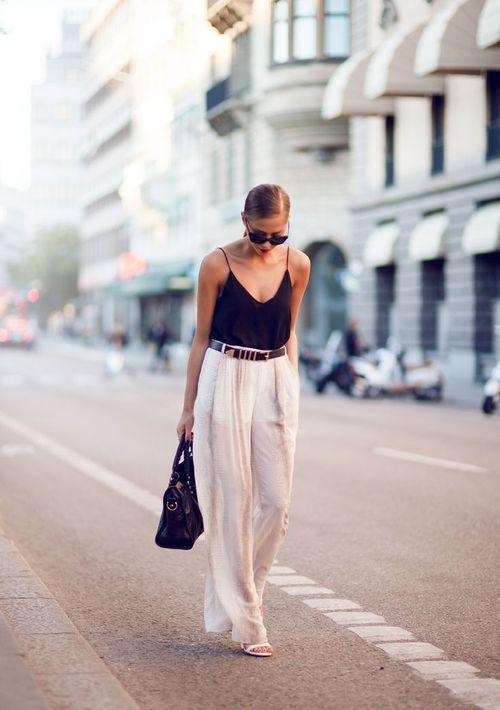 Black tank top + white trousers