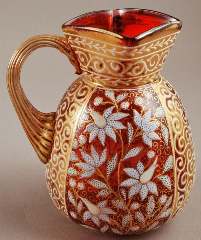 Painted Enamel 19th century Moser Glass Pitcher.