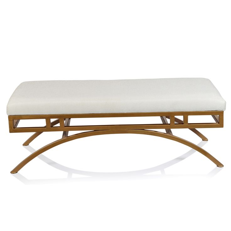 Horizon Boston Natural Blend Fabric Ottoman/Bench with Goldtone Metal Frame | Overstock.com Shopping - The Best Deals on Benches