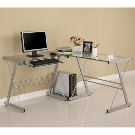 glass and metal corner computer desk multiple colors walmartcom awesome glass corner office desk glass