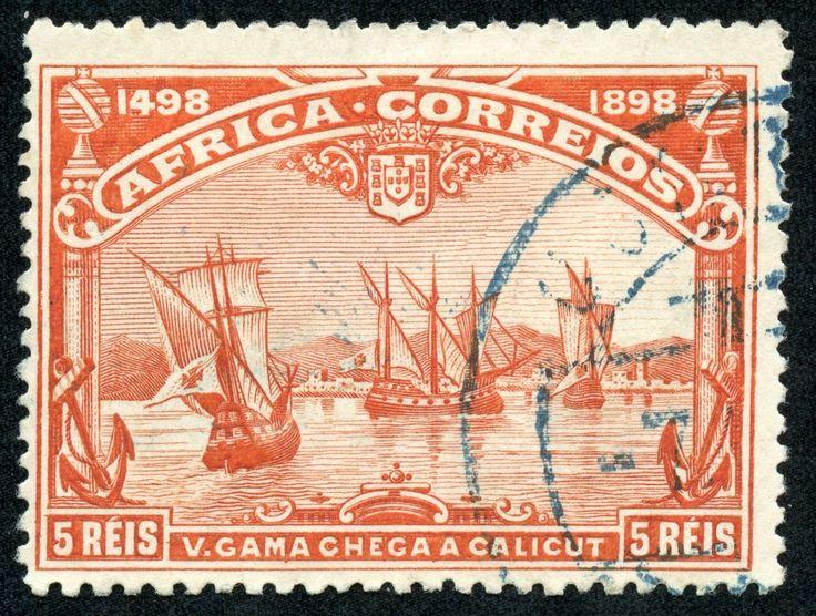 "Portuguese Africa 1898 Scott 2 5r red ""Fleet arriving at Calicut"""