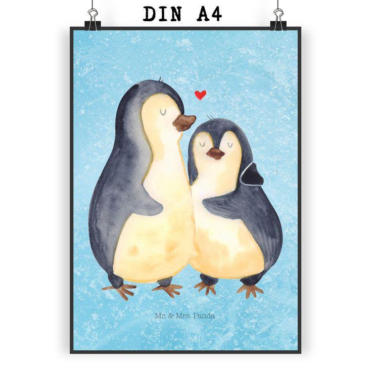 Poster DIN A4 Pinguin umarmend aus Papier 160 Gramm  weiß - Das Original von Mr. & Mrs. Panda.  Jedes wunderschöne Motiv auf unseren Postern aus dem Hause Mr. & Mrs. Panda wird mit viel Liebe von Mrs. Panda handgezeichnet und entworfen.  Unsere Poster werden mit sehr hochwertigen Tinten gedruckt und sind 40 Jahre UV-Lichtbeständig und auch für Kinderzimmer absolut unbedenklich. Dein Poster wird sicher verpackt per Post geliefert.    Über unser Motiv Pinguin umarmend  Unsere…