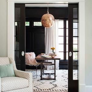 ignore the back room - too black, but the neutrals with blues and those peaches and pinks from upstairs, bring it all together in cushions and drapes in great room