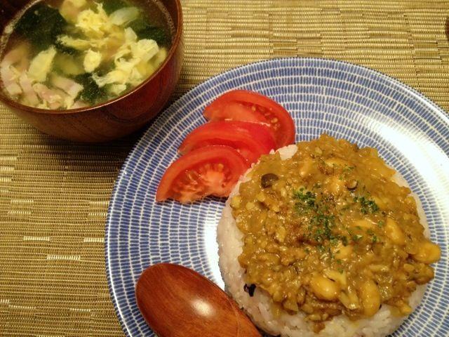 昨日の夕飯♪ - 15件のもぐもぐ - ドライカレー  卵とほうれん草のスープ by ulysses