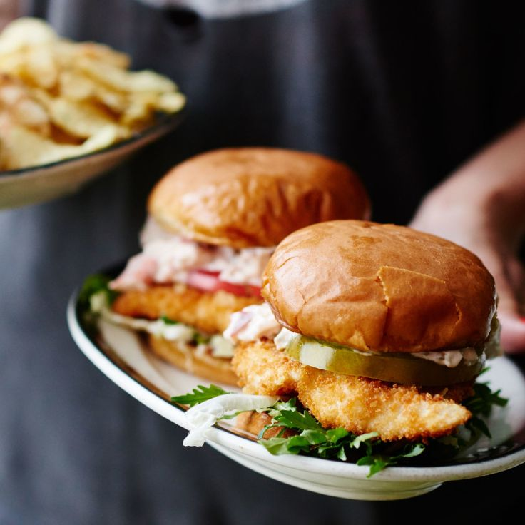 Fried fish sandwiches with lobster mayo recipe cooked for Fish sandwich recipe