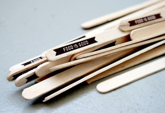 Inspiration: Dymo or Motex label popsicle sticks/food stirrers.
