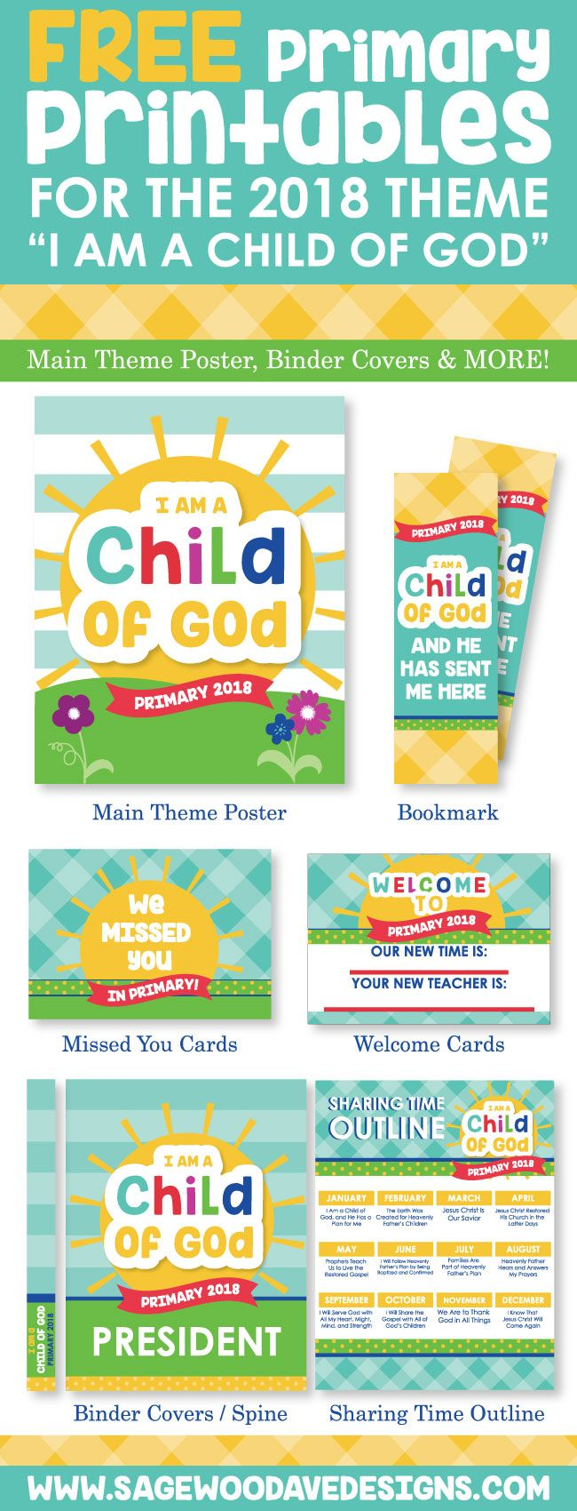 FREE 2018 Lds Primary Printables! Main Theme Poster, Binder Covers and More!