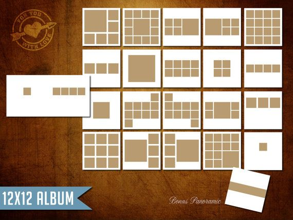 12x12 instagram layflat album template for photographers